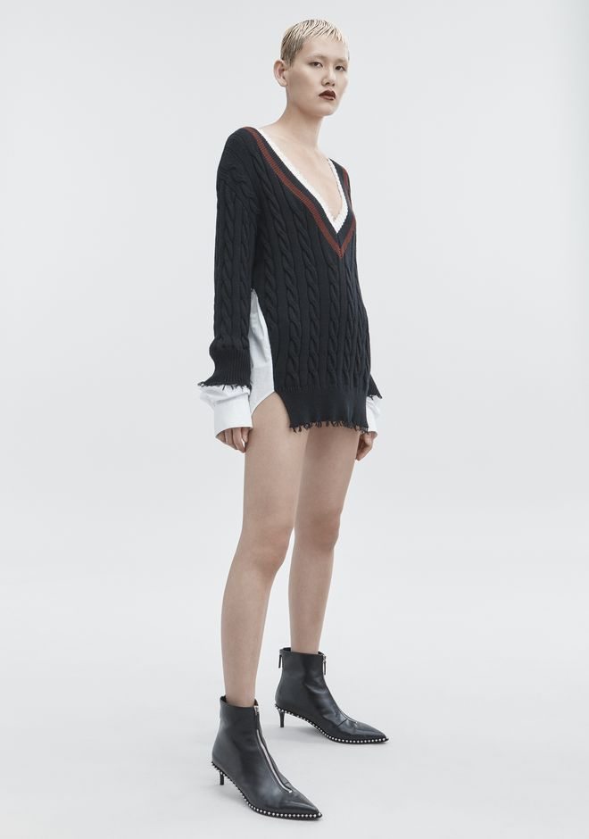 T by ALEXANDER WANG HYBRID VARSITY PULLOVER TOP Adult 12_n_f
