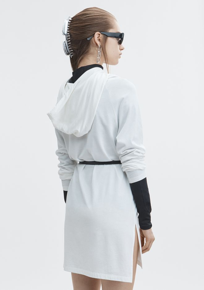 T by ALEXANDER WANG PLAITED JERSEY HOODIE TOP Adult 12_n_d