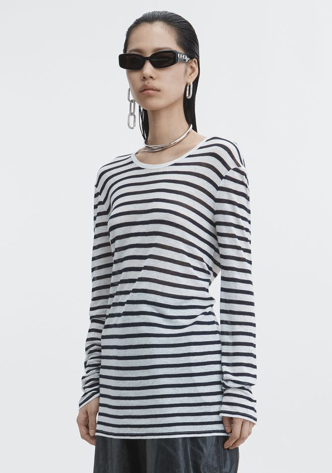 T by ALEXANDER WANG LONG SLEEVE STRIPED TEE TOP Adult 12_n_a