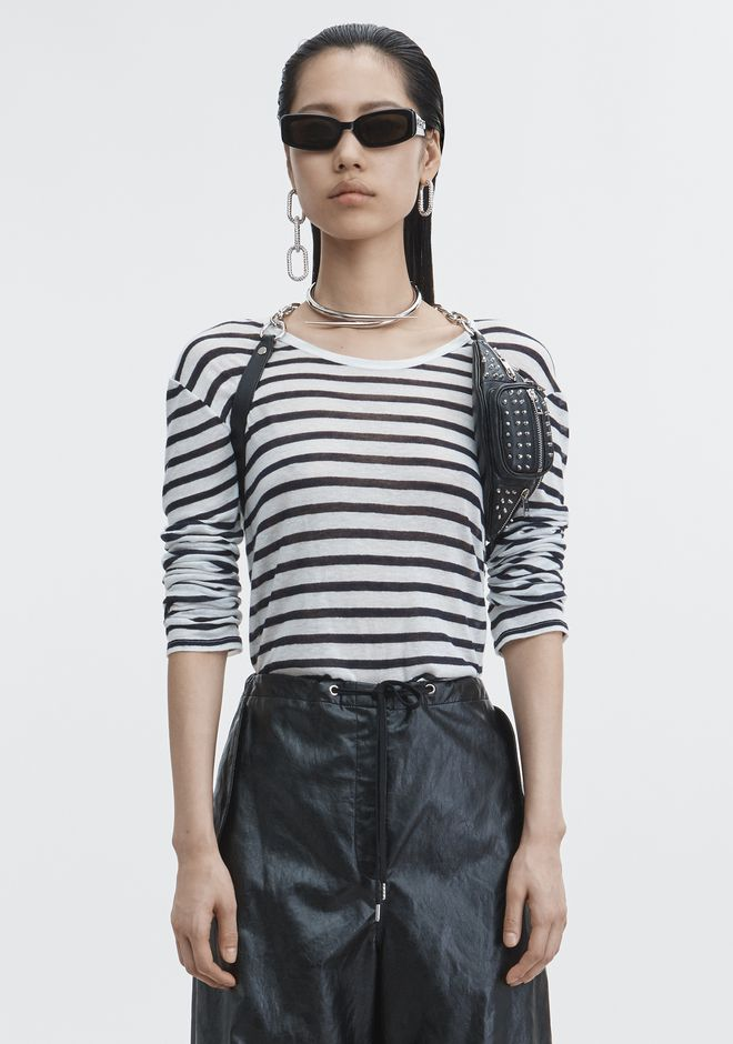 T by ALEXANDER WANG LONG SLEEVE STRIPED TEE TOP Adult 12_n_e