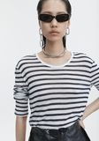 T by ALEXANDER WANG LONG SLEEVE STRIPED TEE TOP Adult 8_n_r
