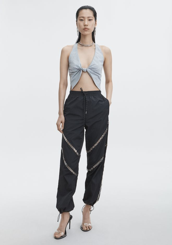 T by ALEXANDER WANG COMPACT JERSEY FRONT TWIST CROP TOP TOP Adult 12_n_f