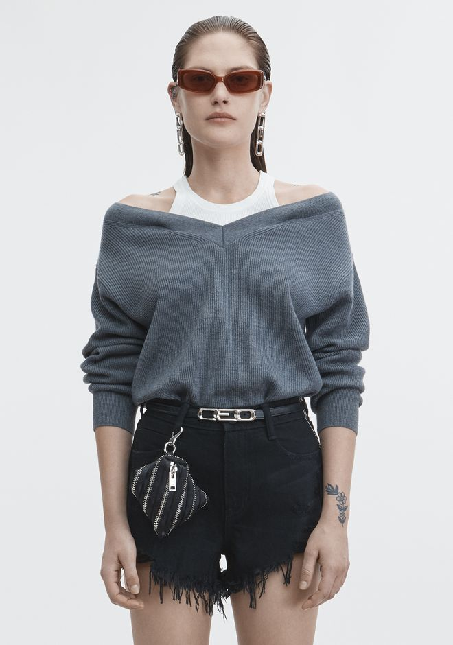 T by ALEXANDER WANG classic-tops OFF-SHOULDER TANK SWEATER