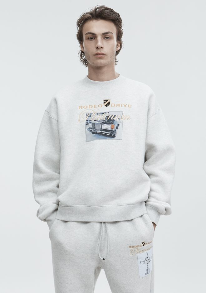 ALEXANDER WANG ready-to-wear-sale PLATINUM CAR PATCH SWEATSHIRT