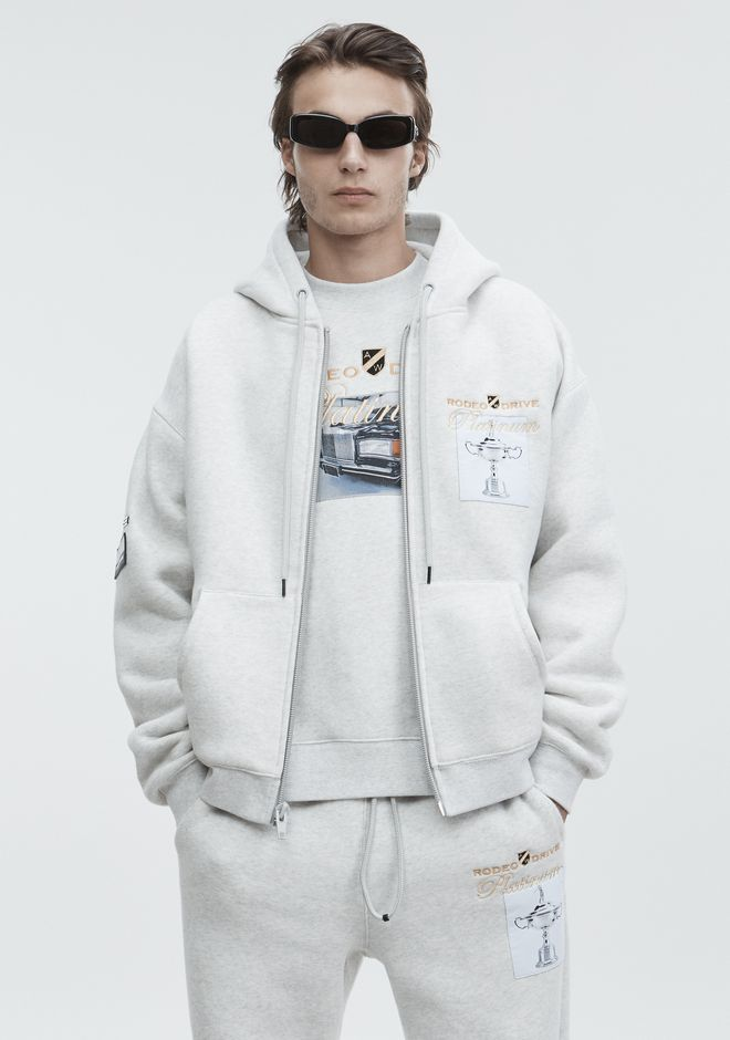 ALEXANDER WANG mens-new-apparel PLATINUM ZIP-UP HOODIE