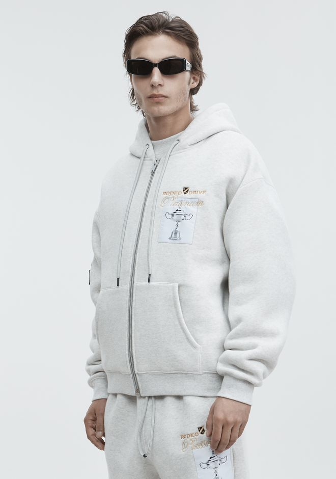ALEXANDER WANG PLATINUM ZIP-UP HOODIE TOP Adult 12_n_a