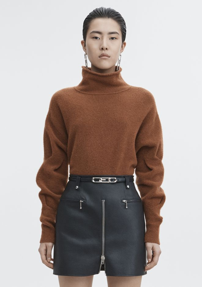 T by ALEXANDER WANG TOPS CHUNKY WOOL CROPPED TURTLENECK