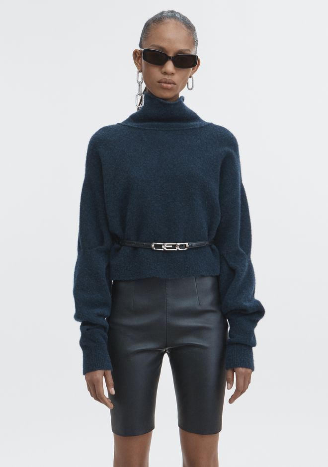 T by ALEXANDER WANG CHUNKY WOOL CROPPED TURTLENECK  TOPS Adult 12_n_e