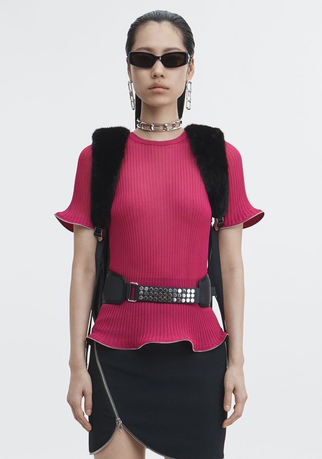 ALEXANDER WANG TOPS Women ZIPPER HEM TEE