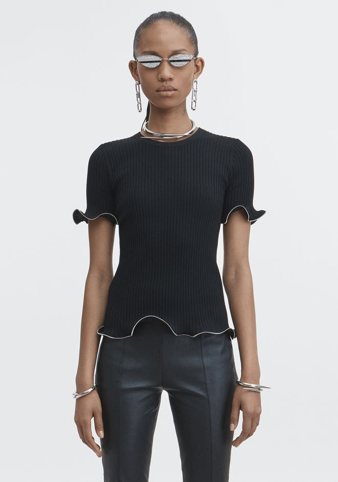 ALEXANDER WANG ZIPPER HEM TEE TOP Adult 12_n_e