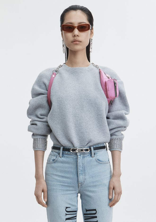 ALEXANDER WANG classic-tops CRYSTAL CUFF PULLOVER
