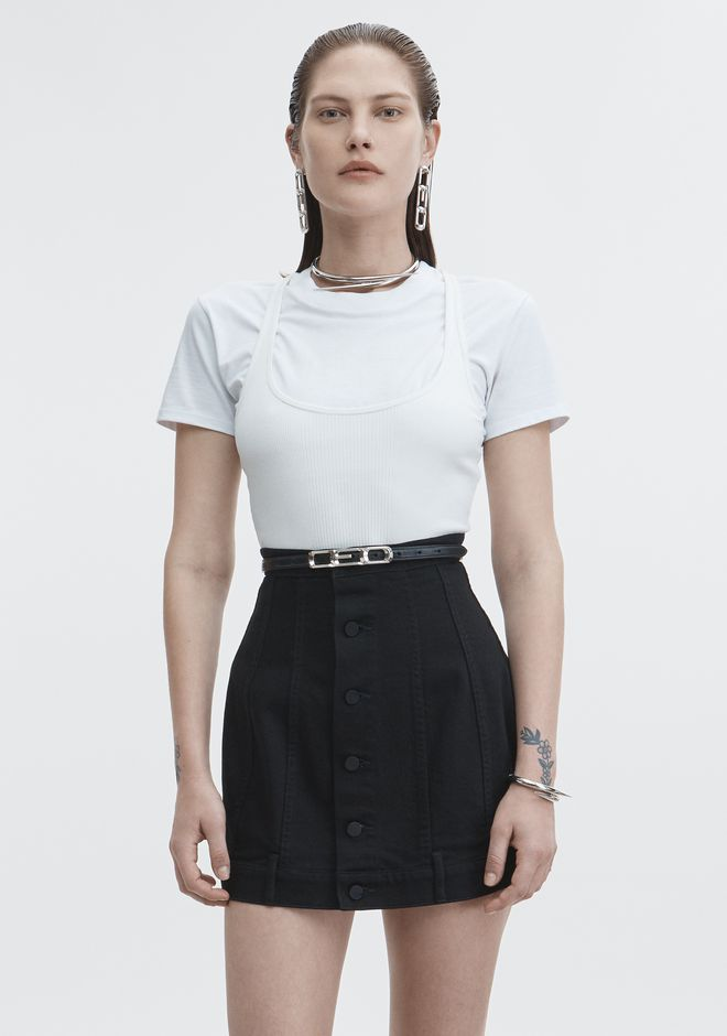T by ALEXANDER WANG TOPS BI-LAYER RIB TOP
