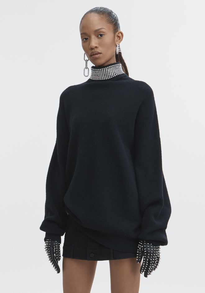 ALEXANDER WANG CRYSTAL TURTLENECK SWEATER TOP Adult 12_n_a