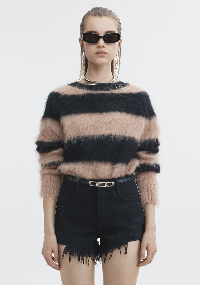 T by ALEXANDER WANG MOHAIR STRIPE PULLOVER TOP Adult 12_n_e