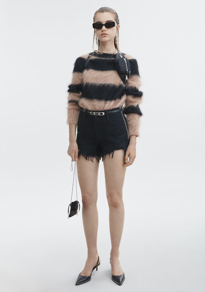 T by ALEXANDER WANG MOHAIR STRIPE PULLOVER TOP Adult 12_n_f