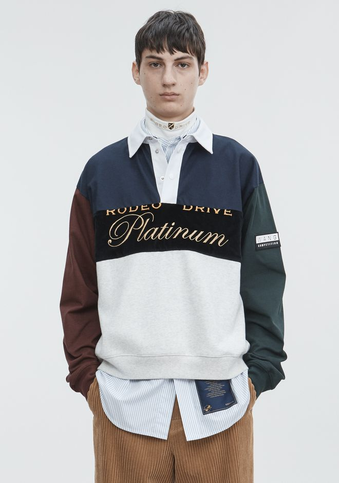 ALEXANDER WANG mens-new-apparel PLATINUM RUGBY PULLOVER