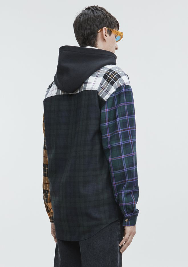 ALEXANDER WANG PLAID HOODED SHIRT  TOP Adult 12_n_d