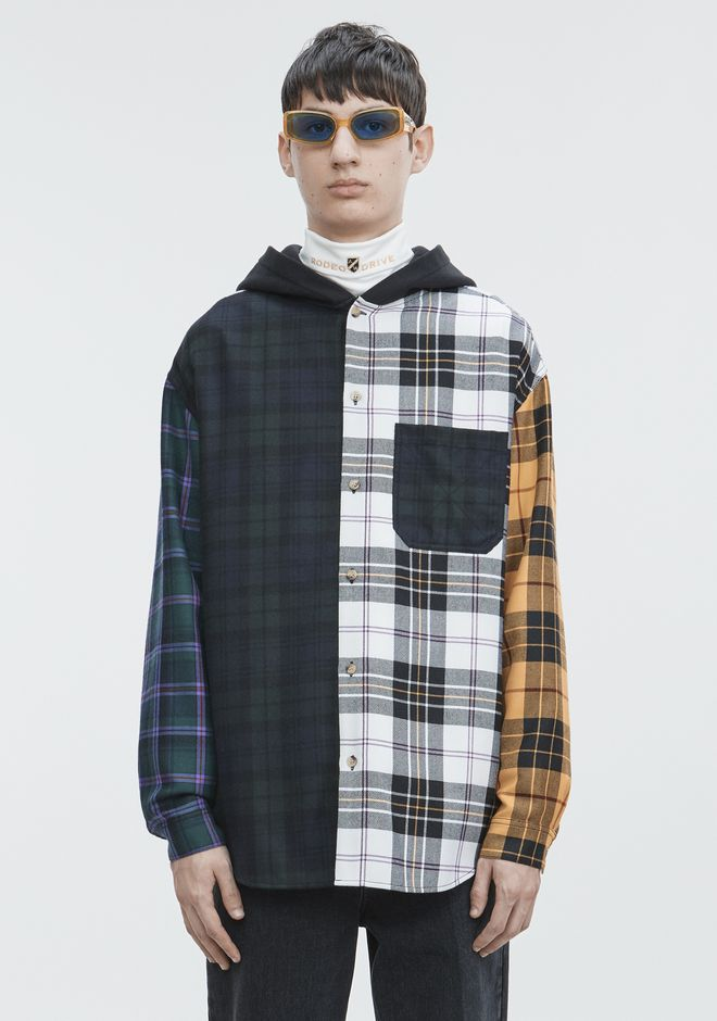 ALEXANDER WANG PLAID HOODED SHIRT  TOP Adult 12_n_e