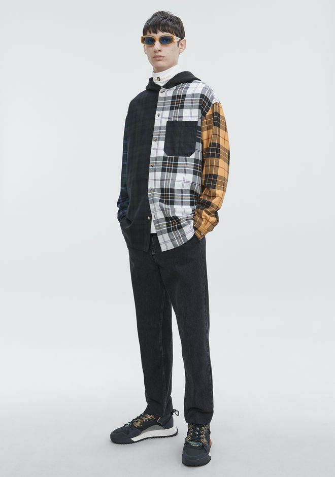 ALEXANDER WANG PLAID HOODED SHIRT  TOP Adult 12_n_f