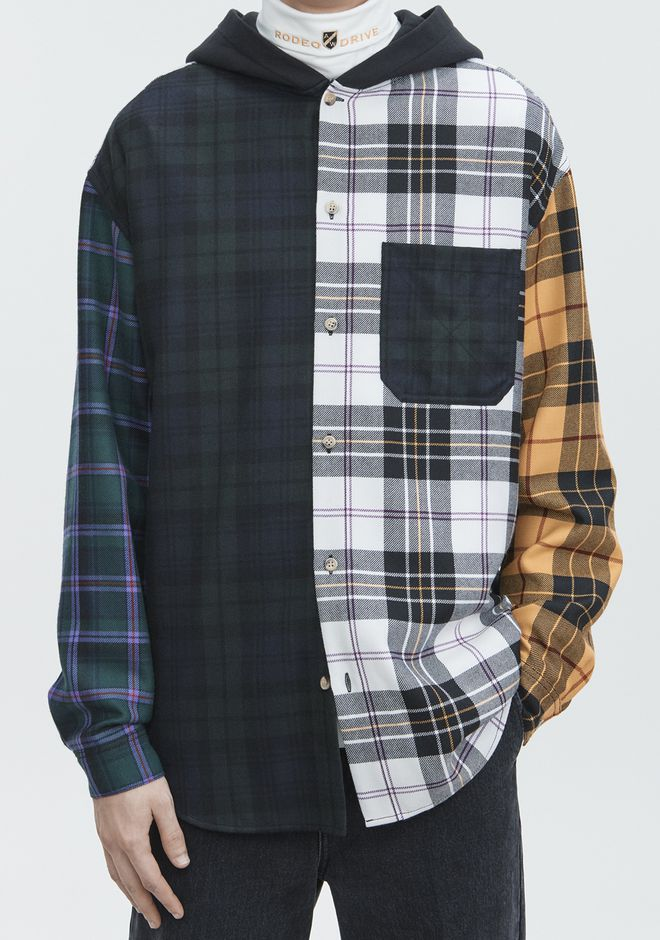 ALEXANDER WANG PLAID HOODED SHIRT  TOP Adult 12_n_r