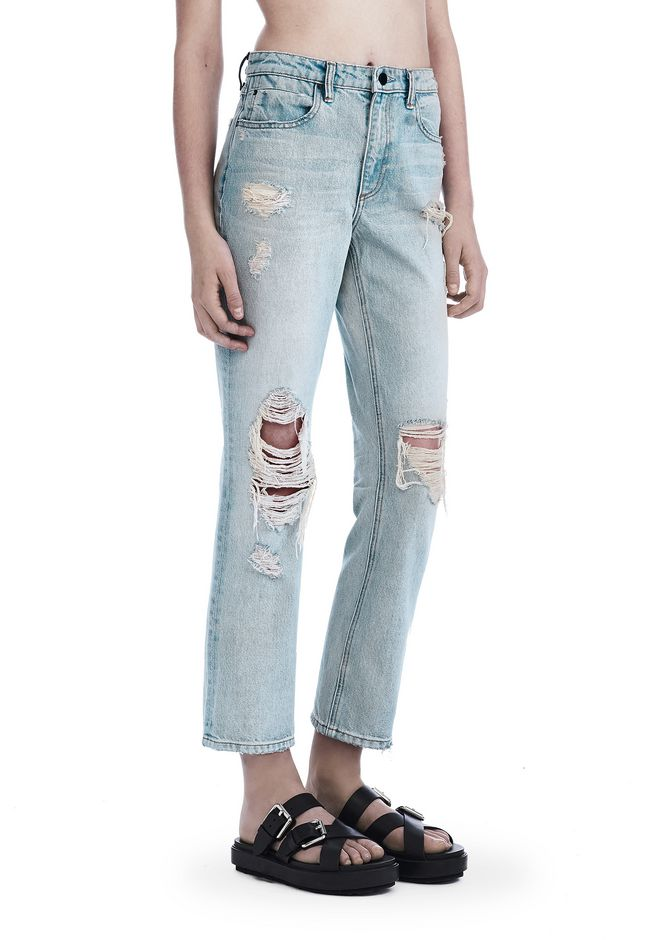 ALEXANDER WANG DESTROYED CULT STRAIGHT LEG JEAN  DENIM Adult 12_n_e