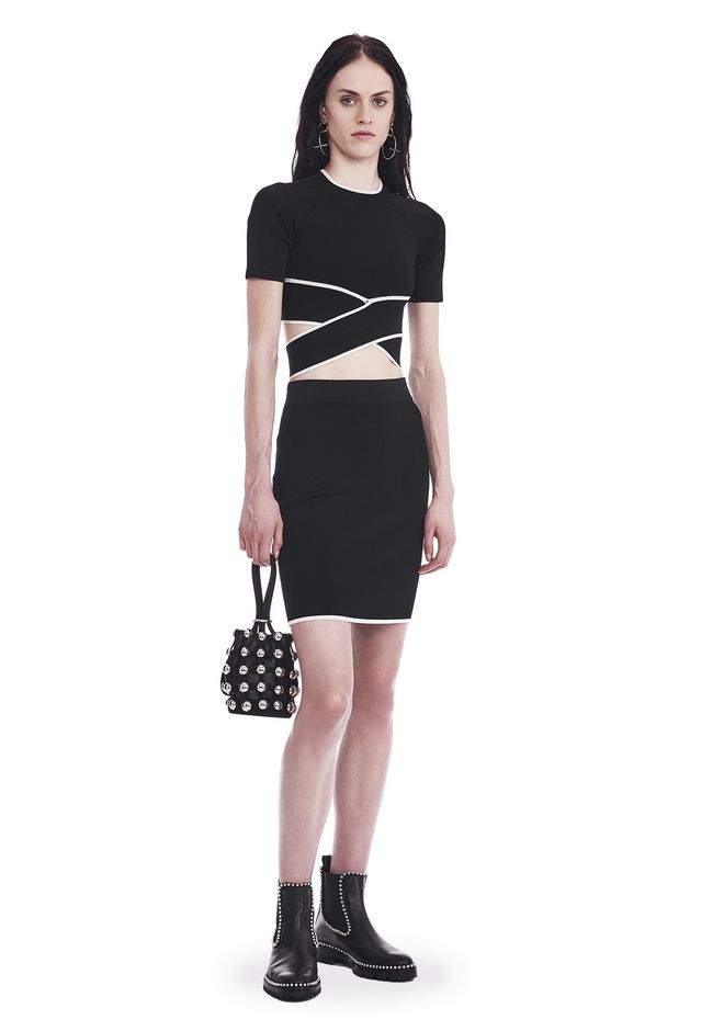 T by ALEXANDER WANG sltbbtm KNIT PENCIL SKIRT WITH TIPPING