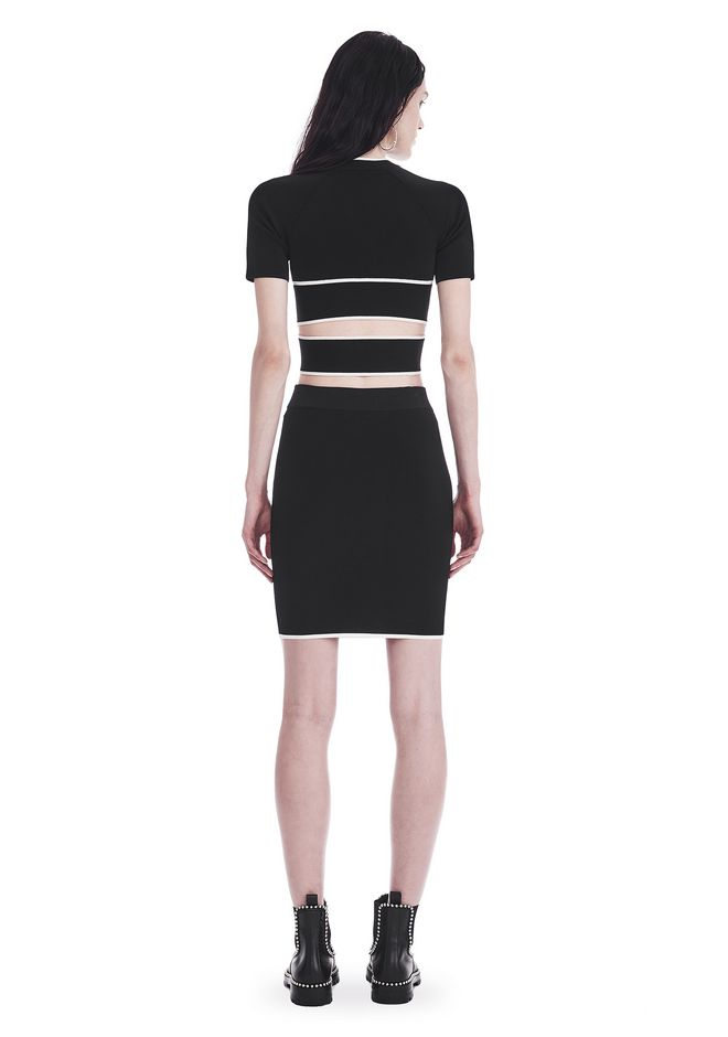 T by ALEXANDER WANG KNIT PENCIL SKIRT WITH TIPPING 半裙 Adult 12_n_r
