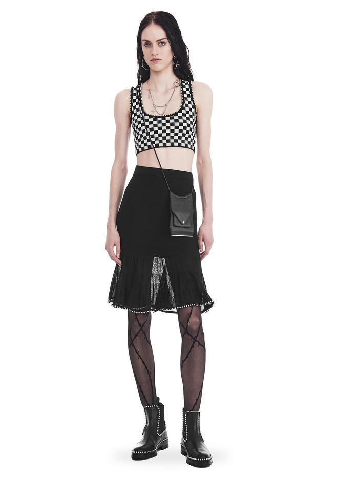 ALEXANDER WANG slrtwbtm KNEE LENGTH SKIRT WITH RUFFLED BALL CHAIN HEM