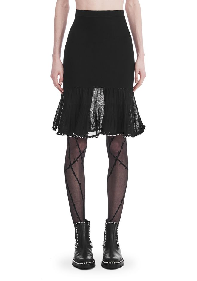 ALEXANDER WANG KNEE LENGTH SKIRT WITH RUFFLED BALL CHAIN HEM SKIRT Adult 12_n_d