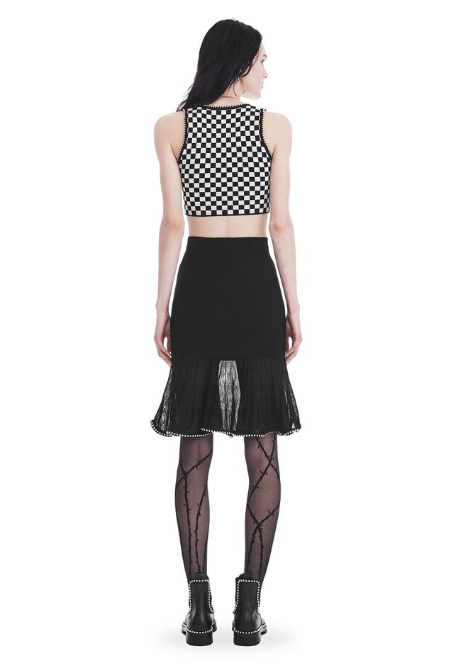 ALEXANDER WANG KNEE LENGTH SKIRT WITH RUFFLED BALL CHAIN HEM SKIRT Adult 12_n_r