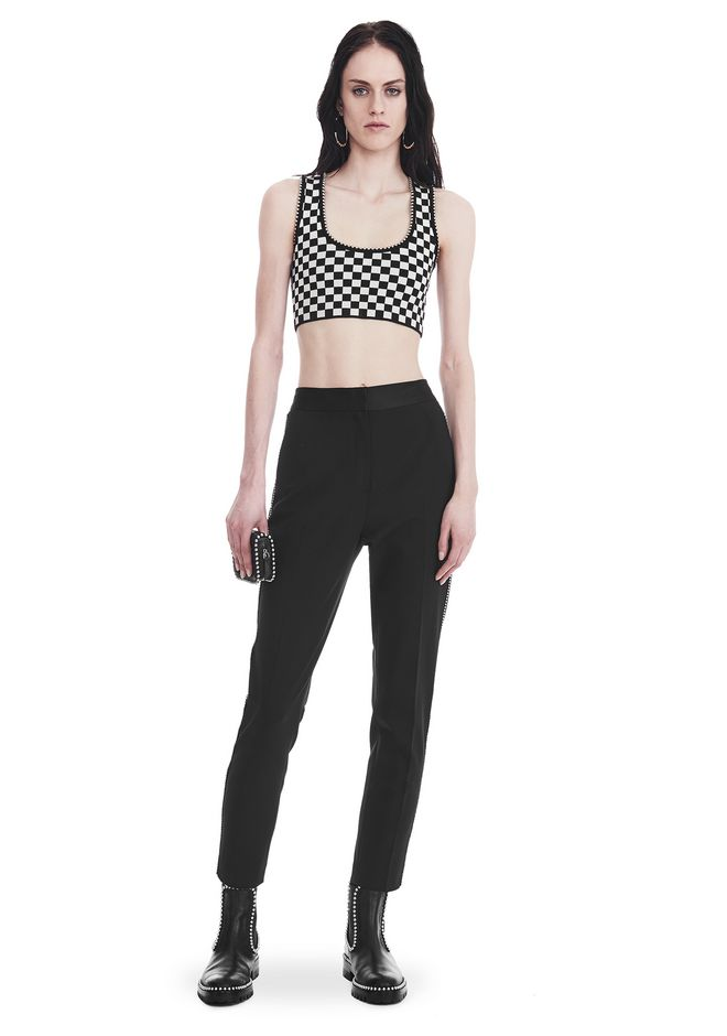 ALEXANDER WANG slrtwbtm SLIM FIT TROUSERS WITH BALL CHAIN TRIM