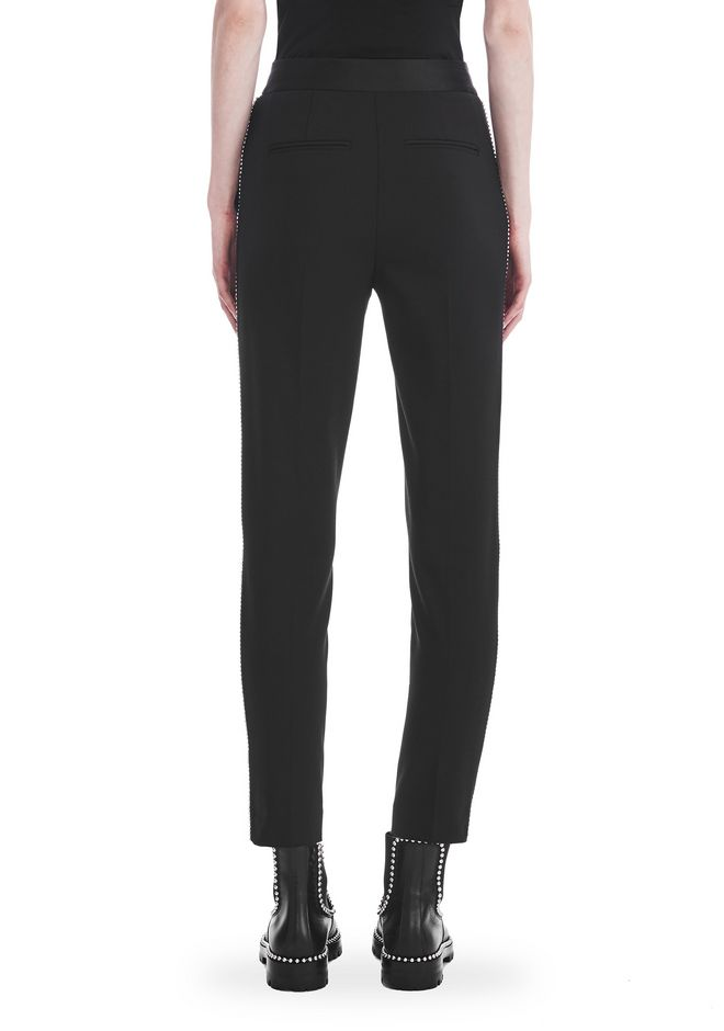 ALEXANDER WANG SLIM FIT TROUSERS WITH BALL CHAIN TRIM PANTS Adult 12_n_a