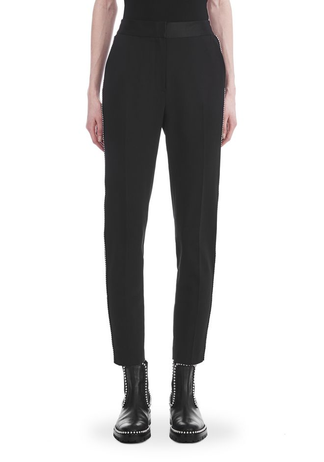 ALEXANDER WANG SLIM FIT TROUSERS WITH BALL CHAIN TRIM PANTS Adult 12_n_d