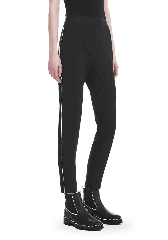 ALEXANDER WANG SLIM FIT TROUSERS WITH BALL CHAIN TRIM PANTS Adult 12_n_e