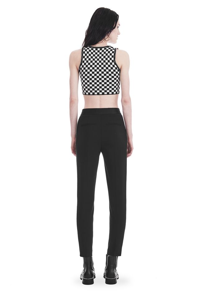 ALEXANDER WANG SLIM FIT TROUSERS WITH BALL CHAIN TRIM PANTS Adult 12_n_r
