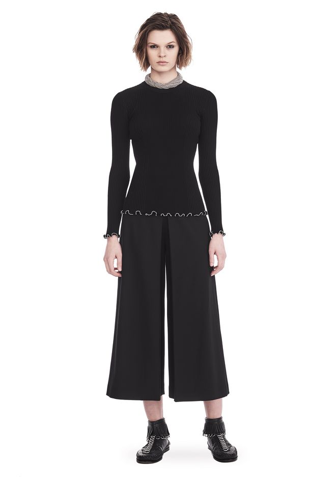 ALEXANDER WANG HIGH WAISTED PANT WITH FOLD FRONT DETAIL PANTS Adult 12_n_f