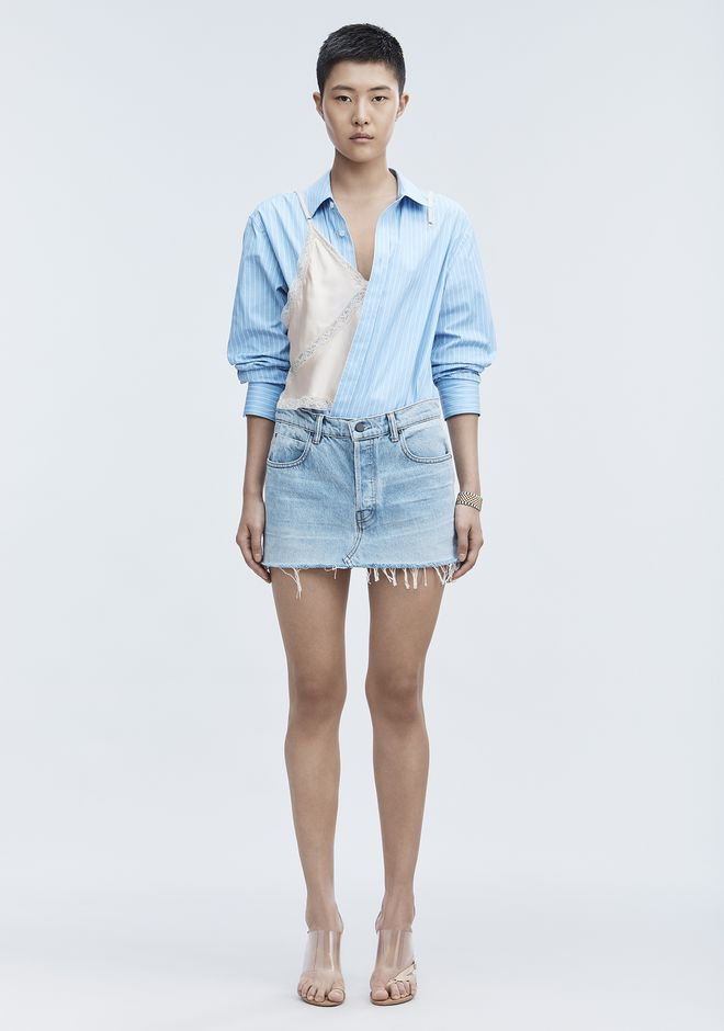 ALEXANDER WANG EXCLUSIVE DENIM MINI SKIRT  DENIM Adult 12_n_f