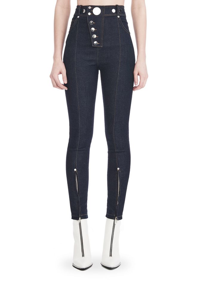 ALEXANDER WANG HIGH-WAISTED DENIM LEGGINGS WITH MULTI-SNAP DETAIL PANTS Adult 12_n_d