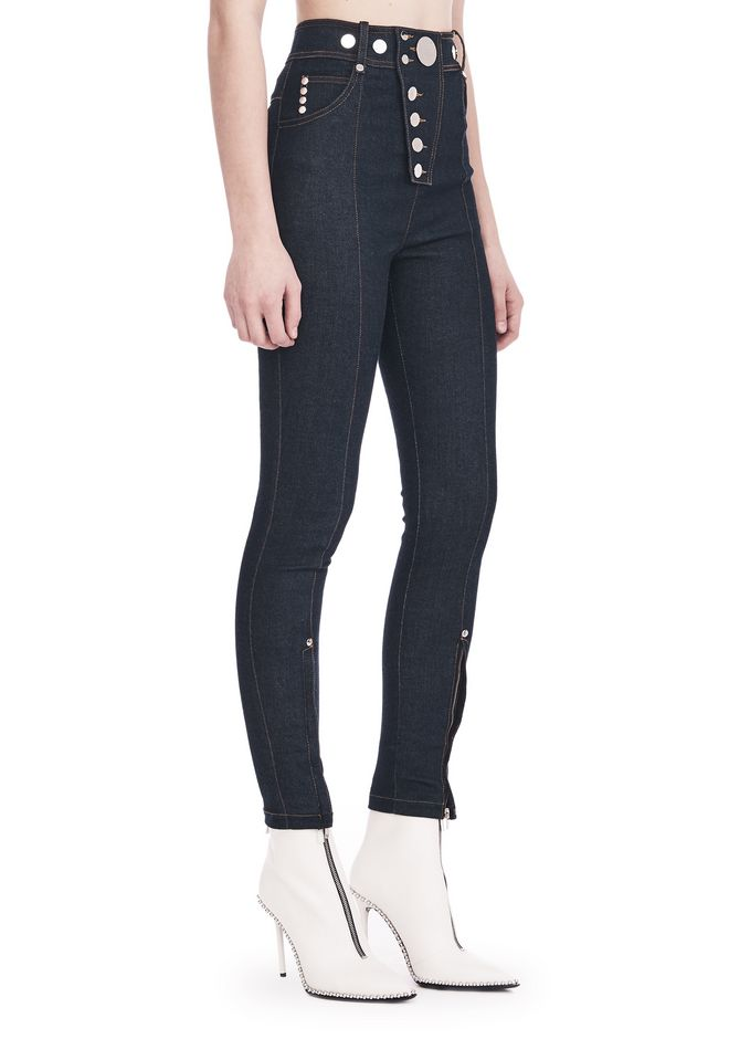 ALEXANDER WANG HIGH-WAISTED DENIM LEGGINGS WITH MULTI-SNAP DETAIL PANTS Adult 12_n_e
