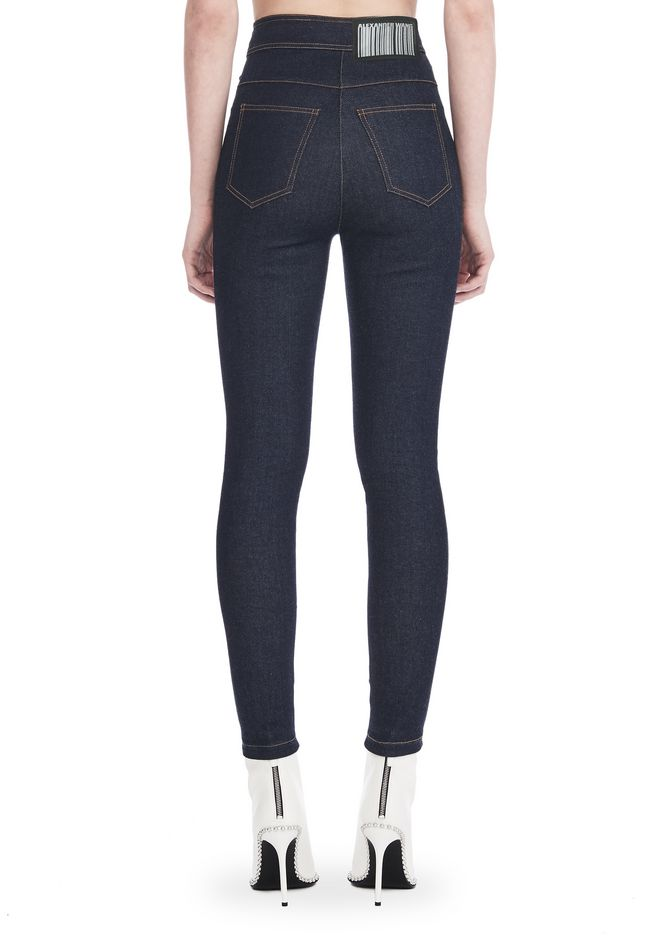 ALEXANDER WANG HIGH-WAISTED DENIM LEGGINGS WITH MULTI-SNAP DETAIL PANTS Adult 12_n_r