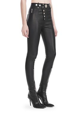 HIGH-WAISTED LEATHER LEGGINGS WITH MULTI-SNAP DETAIL
