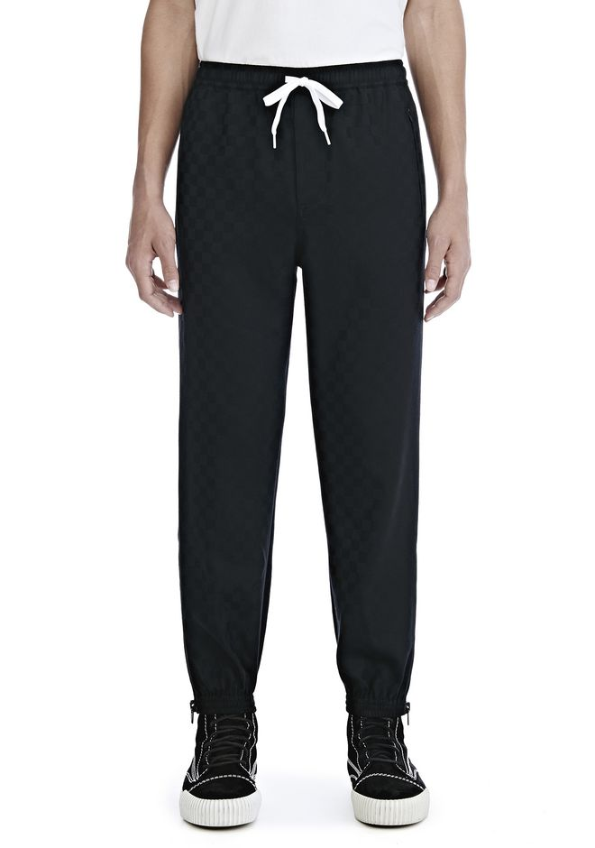 ALEXANDER WANG CHECKERBOARD WOOL JACQUARD TRACK PANTS HOSEN Adult 12_n_d