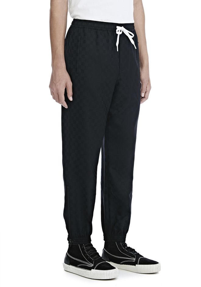 ALEXANDER WANG CHECKERBOARD WOOL JACQUARD TRACK PANTS PANTS Adult 12_n_e