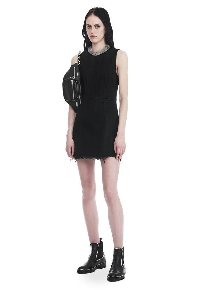ALEXANDER WANG ZIP DENIM DRESS  DENIM Adult 12_n_e