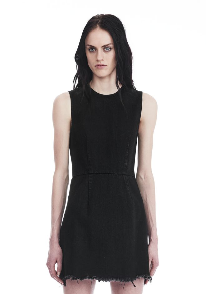 ALEXANDER WANG ZIP DENIM DRESS  DENIM Adult 12_n_f