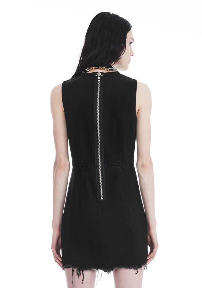 ALEXANDER WANG ZIP DENIM DRESS  DENIM Adult 12_n_r