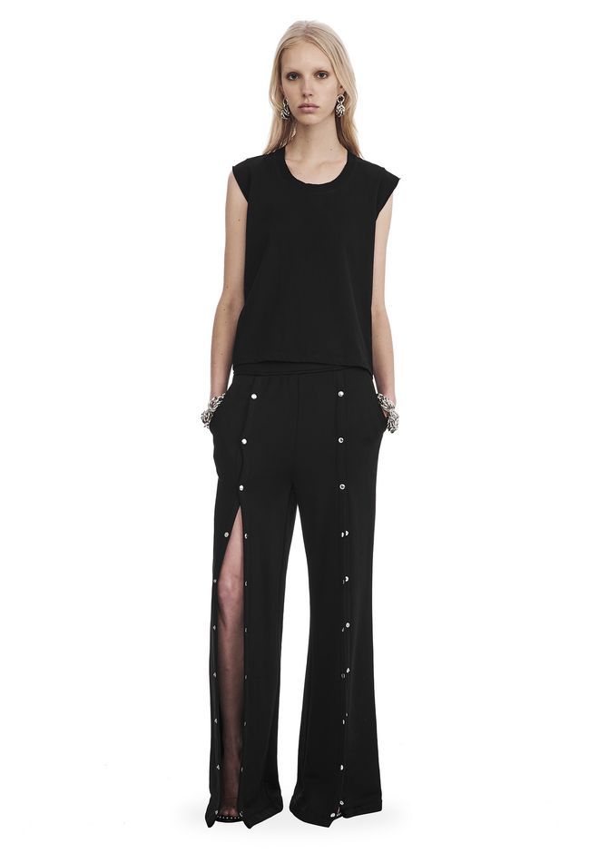 T by ALEXANDER WANG sltbbtm WIDE LEG PULL ON PANTS WITH SNAPS