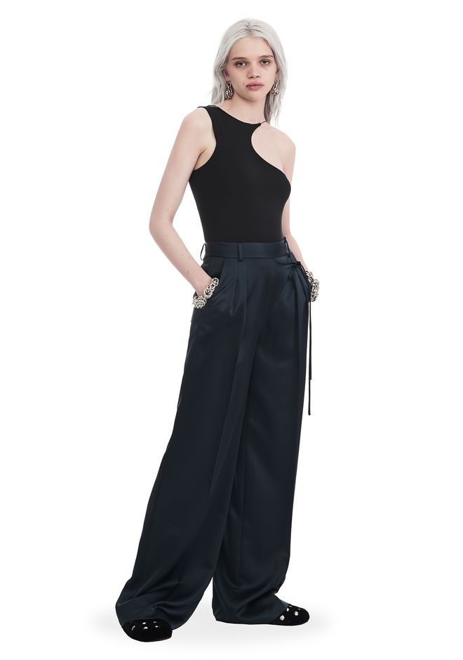 T by ALEXANDER WANG PANTS Women SATIN SUITING WIDE LEG WRAP FRONT PANTS