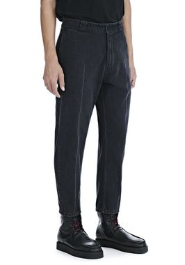 BLACK DENIM CREASED CROPPED TROUSERS