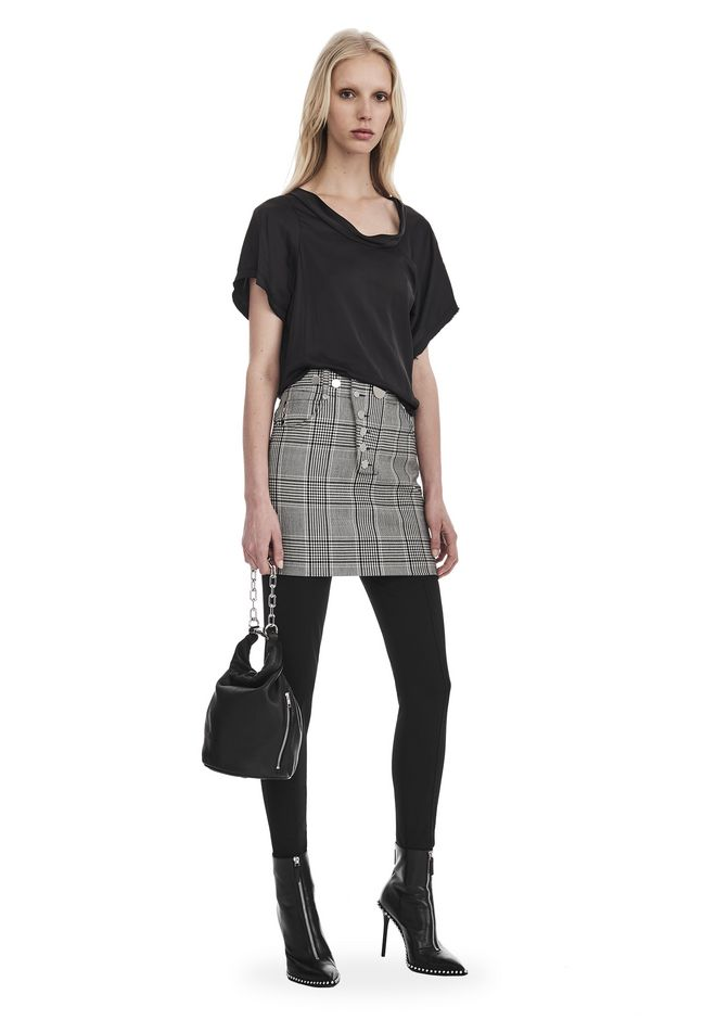 ALEXANDER WANG slrtwbtm CHECK TAILORING HIGH WAISTED MINI SKIRT